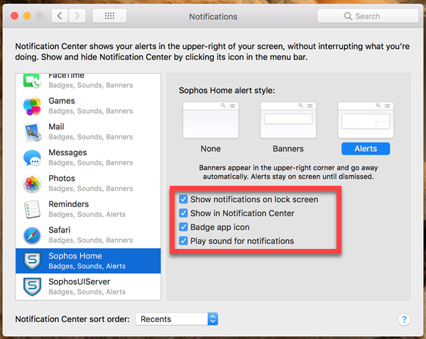 disable notifications center mac